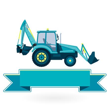 ditch: Blue big digger builds roads on white. Digging of sand, coal, waste rock and gravel. Nice flatten isolated vector illustration master. Digger Truck Crane Fork lift Small Bagger, Mix Roller Excavator Illustration