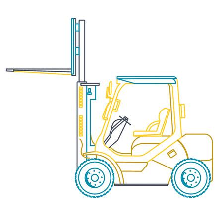 white goods: Blue yellow outline fork lift loader on white. Loading of goods. Illustration
