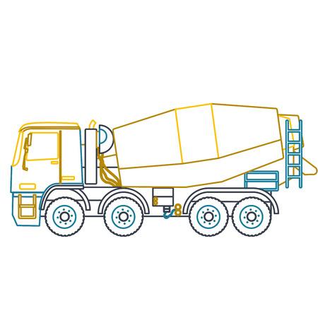 Niebieski żółty kontur ciężkie betoniarki buduje na białym tle. Ilustracje wektorowe