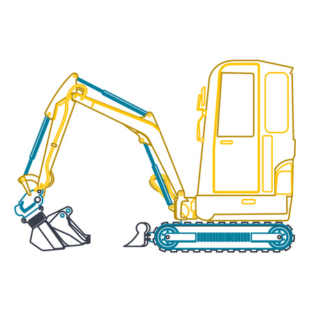 ditch: Yellow blue small outline digger on white, loads of building material.