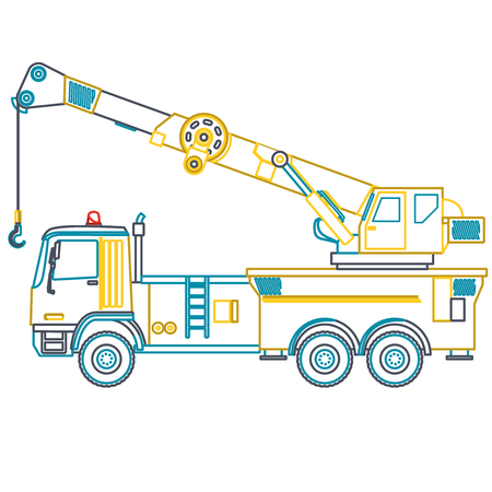 road paving: Blue outline yellow crane with hook and arm on white. Nice isolated vector. Carry of sand, coal waste rock and gravel. Golden illustration for banner or poster icon. Digger Forklift Truck Crane Roller Excavator Bagger
