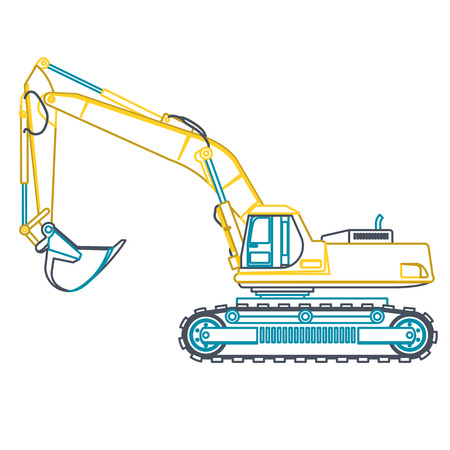 roadwork: Blue outline big yellow digger builds roads on white. Digging of ground. Heavy machinery. Professional flatten isolated vector illustration master. Digger Truck Crane Fork lift Small Bagger, Mix, Roller, Excavator