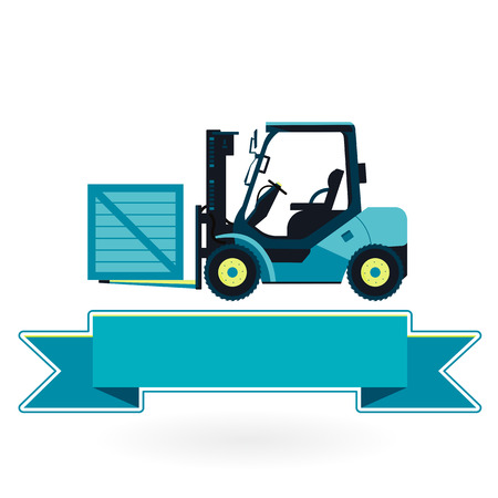 fork lifts trucks: Blue fork lift loader on white. Loading in storage. Construction machinery and ground works. Professional illustration for banner, poster or icon. Flatten master vector symbol