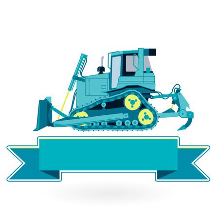 digger: Blue big digger builds roads on white. Digging of sand, coal, waste rock and gravel. Nice flatten isolated vector illustration master. Digger Truck Crane Fork lift Small Bagger, Mix Roller Excavator Illustration