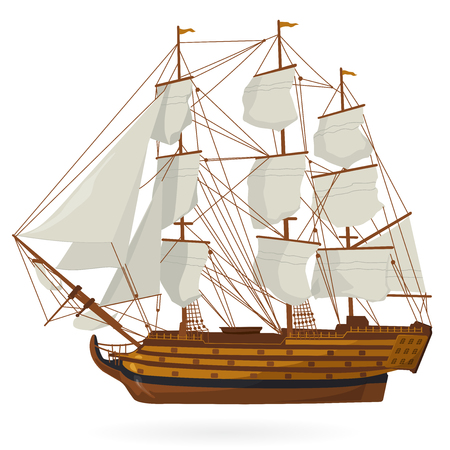 replica: Big historical old wooden sailing boat on white. With sails, mast, deck brown, guns. Nice illustration of a galleon. Training corvette ship for pirate icon. Isolated vector illustration master