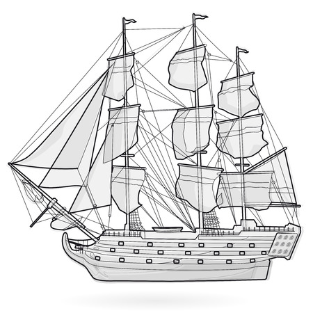 gaff: Big historical old wooden sailing boat on white wire. With sails, mast, deck brown, guns. Nice black and white galleon. Training corvette ship for pirate - flatten icon illustration isolated master vector