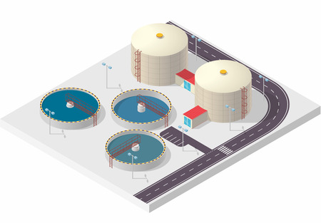 Water treatment isometric building info graphic, big bacterium purifier factory on white. Illustration scientific article. Pictogram Industrial Chemistry cleaner set. Flatten isolated master vector.