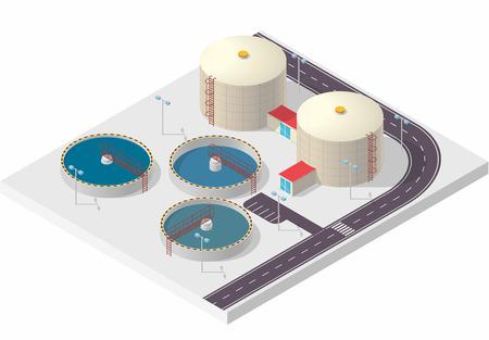aguas residuales: tratamiento de aguas información edificio isométrica gráfico, gran fábrica purificador de bacteria en blanco. Ilustración artículo científico. Pictograma Química Industrial establece más limpio. Acoplar vector aislado maestro. Vectores