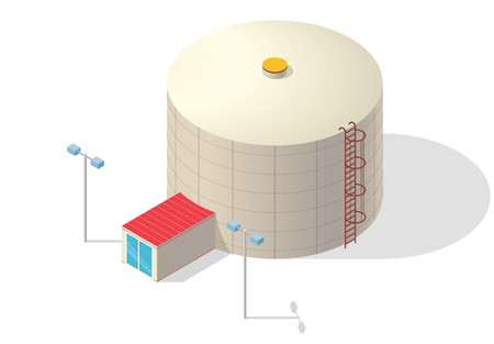 sewage system: Water treatment isometric building info graphic, big bacterium purifier factory on white. Illustration scientific article. Pictogram Industrial Chemistry cleaner set. Flatten isolated master vector.