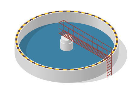 water tanks: Water treatment isometric building info graphic, big bacterium purifier factory on white. Illustration scientific article. Pictogram Industrial Chemistry cleaner set. Flatten isolated master vector.