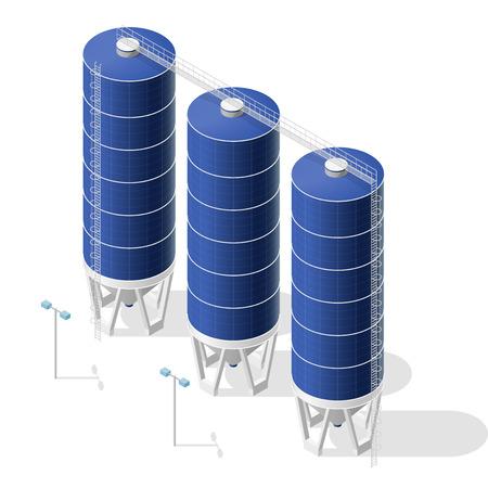 Grain costruzione silos isometrica infografica, grande ascensore seme blu su sfondo bianco. Illustrazione imposta per l'articolo, l'agricoltura, l'agricoltura, l'allevamento. Appiattire isolato maestro vettore.