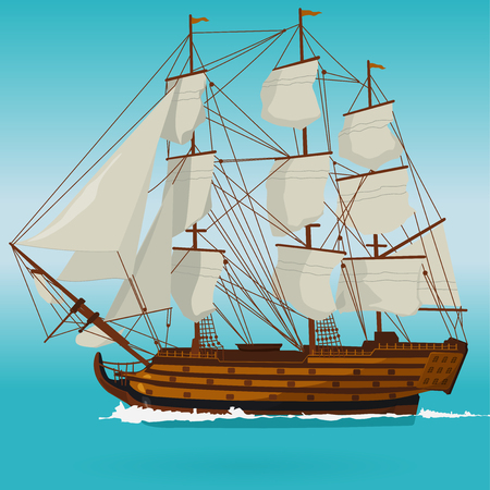 Big historical old wooden sailing boat on blue sea. With sails, mast, deck brown, guns. Nice illustration of a galleon. Training corvette ship for pirate - flatten icon isolated vector illustration master. Illustration
