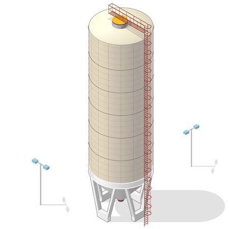 Grain silo building isometric infographic big ocher seed elevator on white background. Illustration set for article, agriculture, farming, husbandry. Flatten isolated master vector.