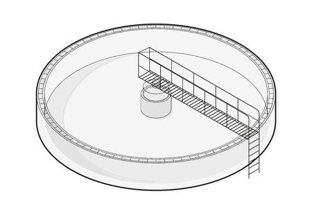 aguas residuales: tratamiento de aguas información edificio isométrica gráfico, bacteria grande de alambre de fábrica purificador sobre fondo blanco. ilustración científica. Química Industrial establece más limpio. Acoplar vector aislado maestro.
