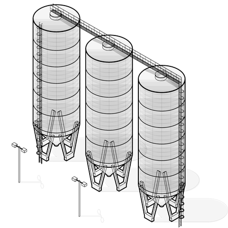 husbandry: Grain silo building isometric infographic, big wire seed elevator on white background. Illustration set for article, agriculture, farming, husbandry. Flatten isolated master vector. Illustration