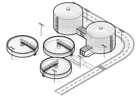 Water treatment isometric building info graphic, big wire bacterium purifier factory on white background. Scientific illustration. Industrial Chemistry cleaner set. Flatten isolated master vector.  イラスト・ベクター素材