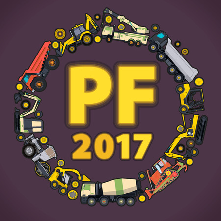 pf: Pour Felicity 2017. Set of ground works machines vehicles. Happy New Year, building construction equipment. PF Digger Truck Crane Forklift Bagger Excavator. Transportation vector illustration master.