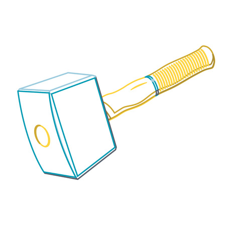 rafter: Carpenter mallet nice big classical white outline Hammer with orange handle on white, massive robust hammer for rafter beam. Construction tools symbol, flatten illustration master vector icon.