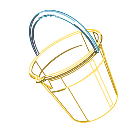 to flatten: Plastic bucket with blue handle on white outline classical blue and yellow pail. Construction tools, flatten illustration master vector icon symbol.