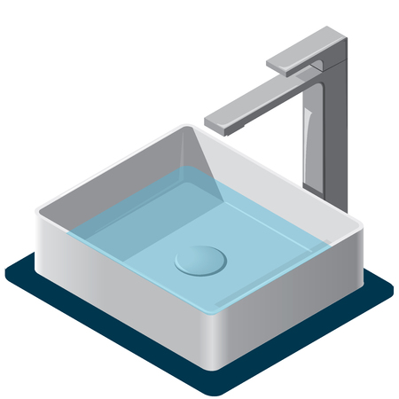 Bathroom sink. Isometric basin with tap and water. Kitchen interior info graphic element on white. Illustration household article. Pictogram domestic cleaner set. Flatten isolated master vector. Vettoriali