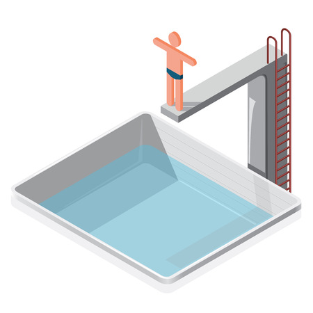 springboard: Swimming pool isometric. Sportsman in trunks springboard he prepares a water jump on white background. Illustration for sports article. Pictogram 3d element set. Flatten isolated master vector. Illustration