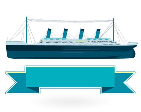 伝説的な船の巨大な記念碑的なシンボルの大きな船。青い船は大きなアイコン分離イラスト マスターを平らにします。  イラスト・ベクター素材