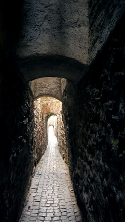 dark city: Small narrow street in medieval town. Strait alley with stone walls. Dark backstreet. The Most Mysterious narrow street. Surreal architecture tunnel. Old town city scene. Executioners way, background.