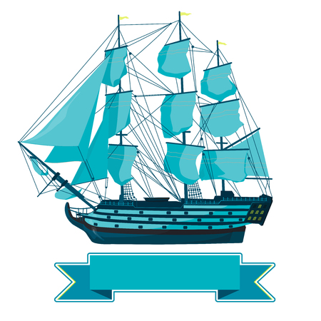 Old blue wooden boat on historical white. Sailing boat with sails, mast, deck brown, guns. Illustration of a galleon. Training corvette ship for pirate - flatten icon isolated master vector Illustration