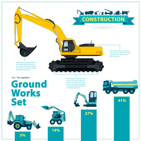 rollover: Construction machinery infographic big set of ground works machines vehicles on white background. Catalog page. Heavy equipment for building truck excavator digger beggar transportation master. Illustration