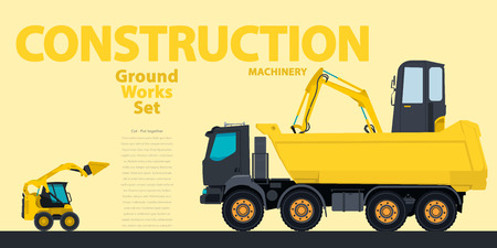 rollover: Yellow hundreds of machines construction machinery vehicles, excavator. Construction equipment for building. Truck, Digger, Crane, Bagger, mix, master illustration, nice ground works typography page