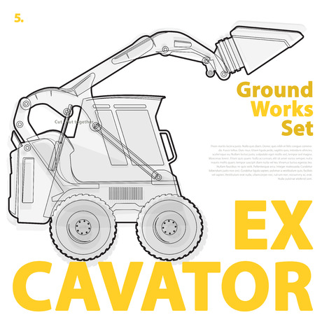 rollover: Outline set of machines construction machinery vehicles, excavator. Construction equipment for building. Truck, Digger, Crane, Bagger, mix, master illustration, nice ground works typography page Illustration