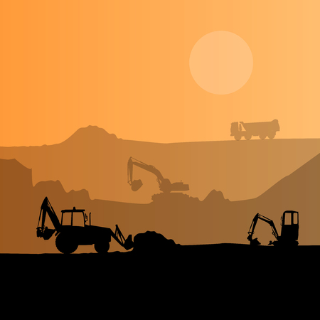 construction machinery: Construction machinery silhouette background. Black and orange set of ground works. Machines work in progress. Vehicle building equipment. Bagger Digger Excavator. Flatten isolated illustration Illustration