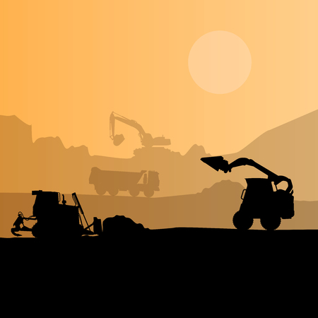 digger: Construction machinery silhouette background. Black and orange set of ground works. Machines work in progress. Vehicle building equipment. Bagger Digger Excavator. Flatten isolated illustration Illustration