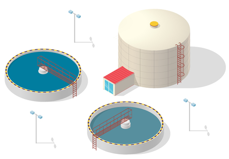 Big bacterium purifier factory on white background. Water treatment isometric building info graphic. Scientific illustration. Pictogram Industrial Chemistry cleaner set. Flatten isolated master