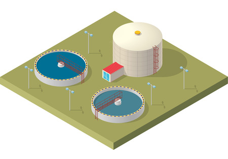 Water treatment isometric building info graphic, big bacterium purifier factory on white background. Scientific illustration. Pictogram Industrial Chemistry cleaner set. Flatten isolated master.