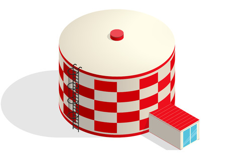 sewage system: Water tank, red cisternae. Water treatment isometric building info graphic element. Rounded gasometer, big gasholder, white background. Pictogram industrial reservoir set. Flatten isolated master. Illustration