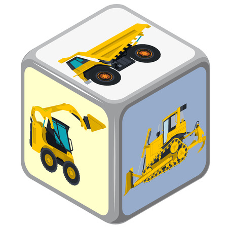 bagger: Isometric playing dice. Construction Machinery game. Color full cube on white background. Six sides die game. Side with excavator, bagger and truck, risk. Flatten isolated master illustration. Illustration