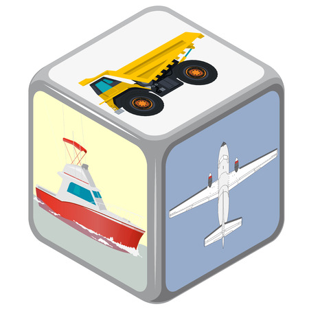 accidental: Playing dice with isometric Means of transport. How to travel Accidental choice. Transportation funny game. Cube on white. Die with boat, plane and truck. Flatten isolated master illustration