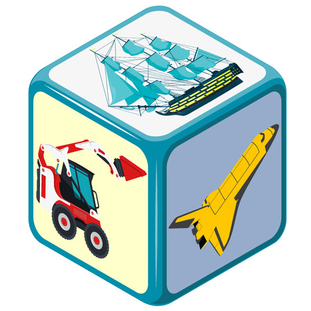 accidental: Playing dice with isometric Means of transport. How to travel Accidental choice. Transportation game. Cube on white. Die with space shuttle, excavator and boat. Flatten isolated illustration