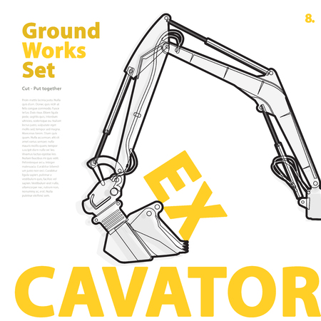 construction machinery: Construction machinery, excavator. Typography set of ground vehicles machines works on white. Construction equipment for building. Master illustration. Truck, Digger, Crane, Forklift, Roller