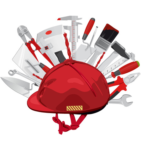 jack hammer: Hard hat with hundreds of construction tools. Red helmet with brush, drill, hammer, key, mallet, pliers, tape measure, ruler, screwdriver, trowel, wrench, ax. Flatten isolated master illustration