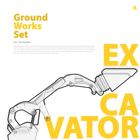 rollover: Construction machinery, excavator. Typography set of ground vehicles machines works on white. Construction equipment for building. Master illustration. Truck, Digger, Crane, Forklift, Roller