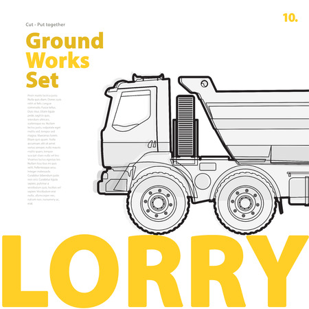 roadwork: Outline typography set with lorry. Outlined truck. Construction machinery vehicle. Construction equipment for building. Nice ground works typography page.