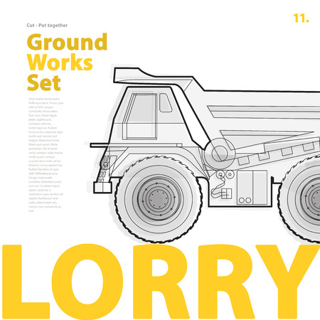 roadwork: Outline typography set with lorry. Outlined truck. Construction machinery vehicle. Construction equipment for building. Nice ground works typography page. Catalogue typography set with truck. Illustration