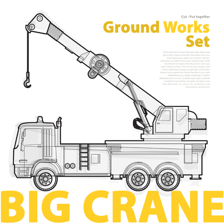 constructing: Big crane, yellow and orange typography set of ground works machines vehicles. Construction equipment for building. Truck, Digger, Excavator, Forklift, Roller master vector illustration.