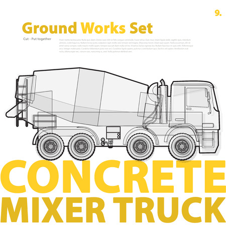 bagger: Concrete mixer truck. Outline typography set with mix. Construction machinery vehicle. Transportation of concrete. Construction equipment for building. Ground works typography catalog page set.