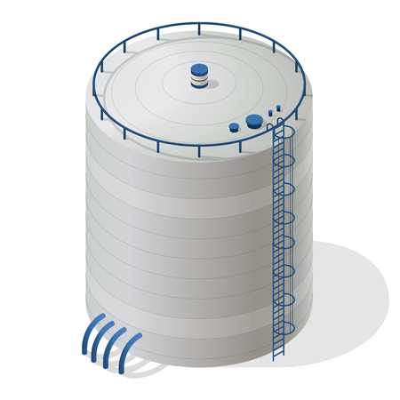 sewage treatment plant: Water reservoir building isometric info graphic. Big water reservoir. White water supply resource. Pictograph industrial chemistry cleaner set with blue details.