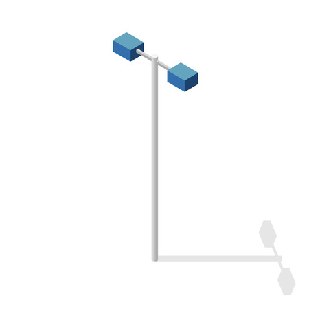 Street light, info graphic. Isometric blue lamp on white background. Street minimalistic equipment. Pictogram of road lamps with details.