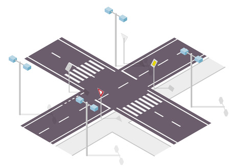 crossroads: Road sign on street. Street traffic sign. Info graphic, junction cross way on white background. Illustration crossroads of main and side road.