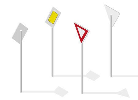 main street: Road sign on street. Street traffic sign. Info graphic, junction crossway on white background. Illustration crossroads of main and side road. Illustration
